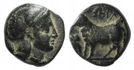 Ionia, Klazomenai? Æ (8mm, 1.28g, 1h). Helmeted head of Athena r. R/ Ram standing l.; to l., owl standing l.(?). Green patina, VF