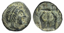 Ionia, Kolophon, c. 389-350 BC. Æ (10mm, 0.97g). Diademed head of Apollo r. R/ Kithara. Cf. SNG von Aulock 2009. Good Fine
