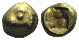 Ionia, Phokaia, c. 625-600 BC. EL 1/24 Stater (9mm, 0.66g). Head of seal l. R/ Incuse punch. Bodenstedt Em. 2.2 (unlisted dies); Weber 6066. Good VF