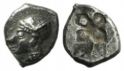 Ionia, Phokaia, c. 521-478 BC. AR Diobol (10mm, 1.38g). Archaic female head l. R/ Quadripartite incuse square. Klein 452-3. Good VF