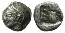 Ionia, Phokaia, c. 521-478 BC. AR Diobol (8mm, 1.32g). Archaic female head l. R/ Quadripartite incuse square. Klein 452-3. Good VF