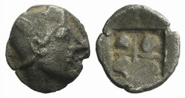 Ionia, Phokaia, c. 521-478 BC. AR Diobol (9mm, 0.50g). Archaic female head l. R/ Quadripartite incuse square. Cf. Klein 452-3 (head l.). Very rare var...