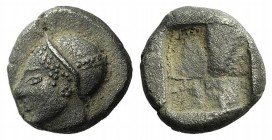 Ionia, Phokaia, c. 510-494 BC. AR Diobol (8mm, 1.28g). Helmeted female head l., hair in sakkos. R/ Four-part incuse square. SNG Copenhagen 389-94 (Unc...