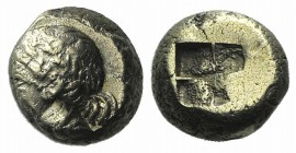 Ionia, Phokaia, c. 478-387 BC. EL Hekte – Sixth Stater (8mm, 2.47g). Head of female l.; below, small seal l. R/ Quadripartite incuse square. Cf. Boden...
