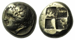 Ionia, Phokaia, c. 478-387 BC. EL Hekte – Sixth Stater (8mm, 2.55g). Wreathed head of Dionysos l.; behind, small seal downward. R/ Quadripartite incus...