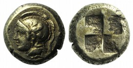 Ionia, Phokaia, c. 478-387 BC. EL Hekte – Sixth Stater (9mm, 2.56g). Head of Athena l., wearing crested Attic helmet decorated with griffin; below, se...