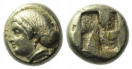 Ionia, Phokaia, c. 478-387 BC. EL Hekte – Sixth Stater (9mm, 2.53g). Head of female l., hair in ornamented sphendone; below, seal r. R/ Quadripartite ...