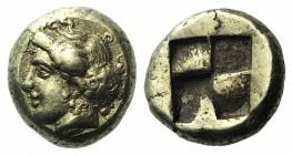 Ionia, Phokaia, c. 478-387 BC. EL Hekte – Sixth Stater (10mm, 2.55g). Head of nymph l., hair in sakkos; to r., small seal l. R/ Quadripartite incuse s...