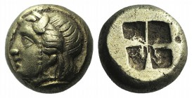 Ionia, Phokaia, c. 478-387 BC. EL Hekte – Sixth Stater (8mm, 2.50g). Head of Io l.; below, small seal l. R/ Quadripartite incuse square. Bodenstedt Em...