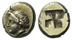 Ionia, Phokaia, c. 387-326 BC. EL Hekte – Sixth Stater (10mm, 2.56g). Head of female l., hair rolled and tied at forehead; to lower r., small seal l. ...