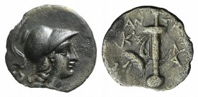 Caria, Kaunos, c. 166-150 BC. AR Hemidrachm (11mm, 0.77g, 12h). Antai(os), magistrate. Helmeted head of Athena r. R/ Sword in sheath with strap; fille...