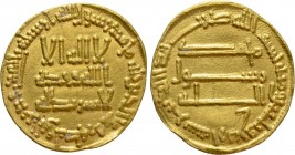 ISLAMIC. 'Abbasid Caliphate. Time of al-Mansur (AH 136-158 / 754-775 AD). GOLD Dinar. Unnamed (Dimashq [Damascus]) mint. Dated AH 144 (AD 761/2)