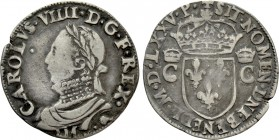 FRANCE. Henry III (1574-1589). 1/2 Teston (1575). In the name of Charles IX. Toulouse
