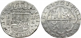SPAIN. Philip V (First reign as King, 1700-1724). 2 Reales (1721-A). Madrid