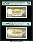 Australia Commonwealth Bank of Australia 10 Shillings ND (1961-65) Pick 33a R17 Two Examples PMG Choice About Unc 58; About Uncirculated 55.   HID0980...