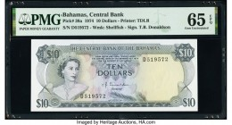 Bahamas Central Bank 10 Dollars 1974 Pick 38a PMG Gem Uncirculated 65 EPQ.   HID09801242017  © 2020 Heritage Auctions | All Rights Reserved