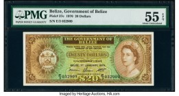 Belize Government of Belize 20 Dollars 1976 Pick 37c PMG About Uncirculated 55 EPQ. Only brief circulation is seen on this highest denomination rarity...