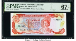 Belize Monetary Authority 5 Dollars 1.1.1980 Pick 39a PMG Superb Gem Unc 67 EPQ.   HID09801242017  © 2020 Heritage Auctions | All Rights Reserved
