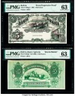 Bolivia Banco Agricola 5 Bolivianos 22.11.1903 Pick S102pp1; S102p2 Front Progressive Proof/Back Proof PMG Choice Uncirculated 63 (2). Both examples h...