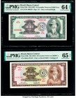 Brazil Banco Central Do Brasil 10 Cruzeiros Novos on 10,000 Cr. ND (1967) Pick 189c; 190b Two Examples PMG Choice Uncirculated 64 EPQ; Gem Uncirculate...