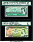 Canada Bank of Canada $1; 20 1954; 1969 BC-37aA; BC-50a Two Examples Replacement/Issued PMG Superb Gem Unc 67 EPQ (2).   HID09801242017  © 2020 Herita...