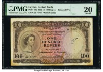 Ceylon Central Bank of Ceylon 100 Rupees 16.10.1954 Pick 53a PMG Very Fine 20. Stains and annotation.   HID09801242017  © 2020 Heritage Auctions | All...