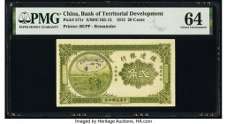 China Bank of Territorial Development 20 Cents 1915 Pick 571r Remainder PMG Choice Uncirculated 64. Stamp canceled.  HID09801242017  © 2020 Heritage A...
