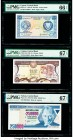Cyprus Central Bank of Cyprus 250 Mils; 1 Pound 1.10.1981; 1.9.1995 Pick 41c; 53d Two Examples PMG Gem Uncirculated 66 EPQ; Superb Gem Unc 67 EPQ; Tur...