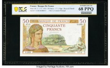 France Banque de France 50 Francs 17.1.1935 Pick 81 PCGS Superb Gem UNC 68 PPQ.   HID09801242017  © 2020 Heritage Auctions | All Rights Reserved