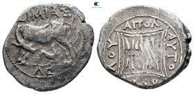 Illyria. Apollonia circa 210-80 BC. ΑΥΤΟΒΟΥΛΟΣ and ΣΙΜΙΑΣ (Autoboulos and Simias, magistrates). Drachm AR