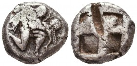 ISLANDS off THRACE, Thasos. Circa 500-480 BC. AR Stater . Satyr advancing right, carrying off protesting nymph / Quadripartite incuse square. Le Rider...