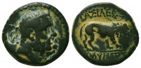 KINGS OF GALATIA. Amyntas (39-25 BC). Ae. Obv: Head of Herakles right, club over shoulder. Rev: ΒΑΣΙΛΕΩΣ / ΑΜΥΝΤΟΥ. Lion standing right. SNG France 23...