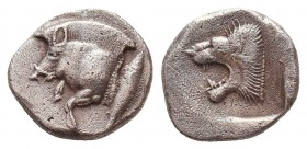 Greek AR Silver Obol, Ca. 350-300 BC.  Condition: Very Fine    Weight: 1.1 gr Diameter: 10 mm