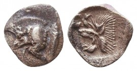 Greek AR Silver Obol, Ca. 350-300 BC.  Condition: Very Fine    Weight: 0.3 gr Diameter: 9 mm