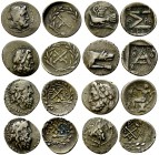 19th Century Collection of 8 Greek hemidrachms 