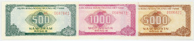 VIETNAM, Bank for Foreign Trade, 500, 1000, 5000 Dong ND(1987). Foreign Exchange Certificate.