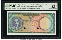 Afghanistan Bank of Afghanistan 500 Afghanis ND (1948) / SH1327 Pick 35cts Color Trial Specimen PMG Choice Uncirculated 63 EPQ. Red Specimen overprint...