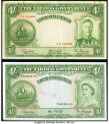 Bahamas Bahamas Government 4 Shillings 1936 (ND 1947; 1954) Pick 9e; 13b Two Examples Very Fine; Extremely Fine. Small hole and rust stains on Pick 9e...