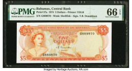 Bahamas Central Bank 5 Dollars 1974 Pick 37a PMG Gem Uncirculated 66 EPQ.   HID09801242017  © 2020 Heritage Auctions | All Rights Reserved