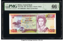 Belize Central Bank 50 Dollars 1.6.1991 Pick 56b PMG Gem Uncirculated 66 EPQ.   HID09801242017  © 2020 Heritage Auctions | All Rights Reserved