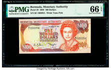 Bermuda Monetary Authority 100 Dollars 1989 Pick 39 PMG Gem Uncirculated 66 EPQ.   HID09801242017  © 2020 Heritage Auctions | All Rights Reserved