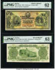 Bolivia Banco Francisco Argandona 5 Bolivianos 1.1.1905 Pick S149p1; S149p2 Front and Back Proofs PMG Uncirculated 62; Choice Uncirculated 63. Both ex...