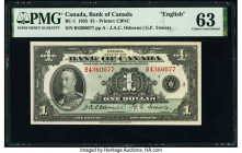 Canada Bank of Canada $1 1935 Pick 38 BC-1 PMG Choice Uncirculated 63. Minor rust.  HID09801242017  © 2020 Heritage Auctions | All Rights Reserved