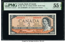 Canada Bank of Canada $20; 2 2.1.1937; 1954 Pick 62b BC-25b; BC-30a Two Examples PMG Choice Extremely Fine 45 EPQ; About Uncirculated 55 EPQ.   HID098...