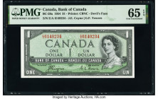 "Canada Bank of Canada $1 1954 Pick 66a BC-29a ""Devil's Face"" PMG Gem Uncirculated 65 EPQ.   HID09801242017  © 2020 Heritage Auctions 