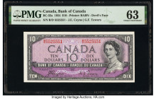 "Canada Bank of Canada $10 1954 Pick 69a BC-32a ""Devil's Face"" PMG Choice Uncirculated 63. Minor tear.  HID09801242017  © 2020 Heritage Auctions 
