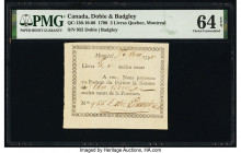 Canada Dobie & Badgley 3 Livers 1790 QC-130-10-06 PMG Choice Uncirculated 64 EPQ. As made wrinkle.  HID09801242017  © 2020 Heritage Auctions | All Rig...