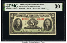 Canada Toronto, ON- Imperial Bank of Canada $5 3.1.1939 Pick S1145G Ch.# 375-24-02 PMG Very Fine 30.   HID09801242017  © 2020 Heritage Auctions | All ...