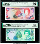 Cayman Islands Monetary Authority 10; 50 Dollars 2001 Pick 28a; 29a Two Examples PMG Gem Uncirculated 66 EPQ (2). Pick 29a has a binary serial number ...