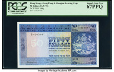 Ceylon Central Bank of Ceylon 10 Rupees 11.9.1959 Pick 59a PMG Choice Uncirculated 64; Hong Kong Hongkong & Shanghai Banking Corp. 50 Dollars 31.3.198...